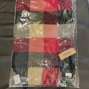 Soft burgundy plaid scarf